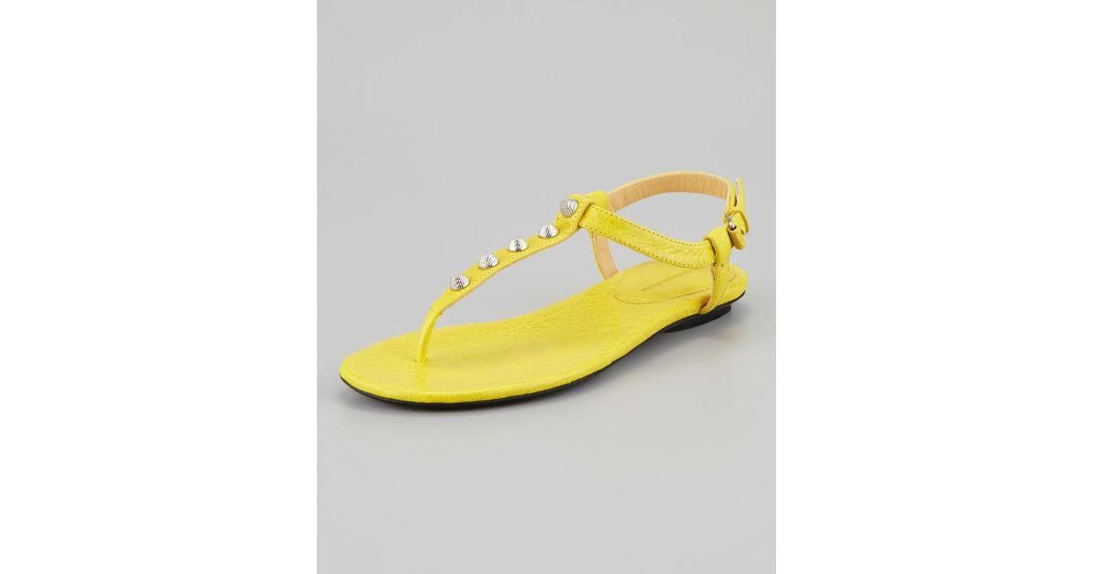 9e3ca3d9c122a Lyst - Balenciaga Arena Giant Nickel Studded Thong Sandal in Yellow