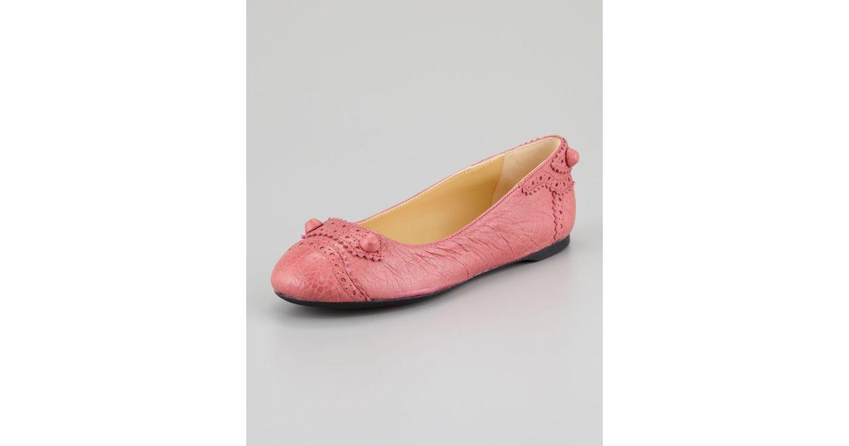 Balenciaga Pink Arena Brogue Perforated Ballerina Flat