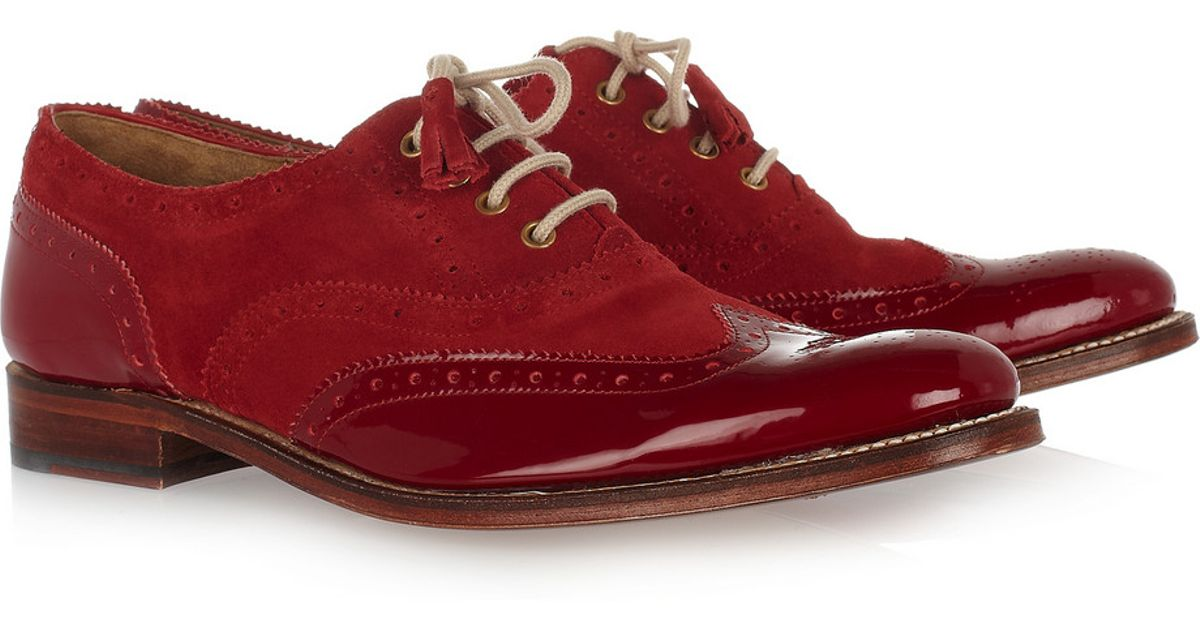 Martha Leather and Suede Brogues in Red
