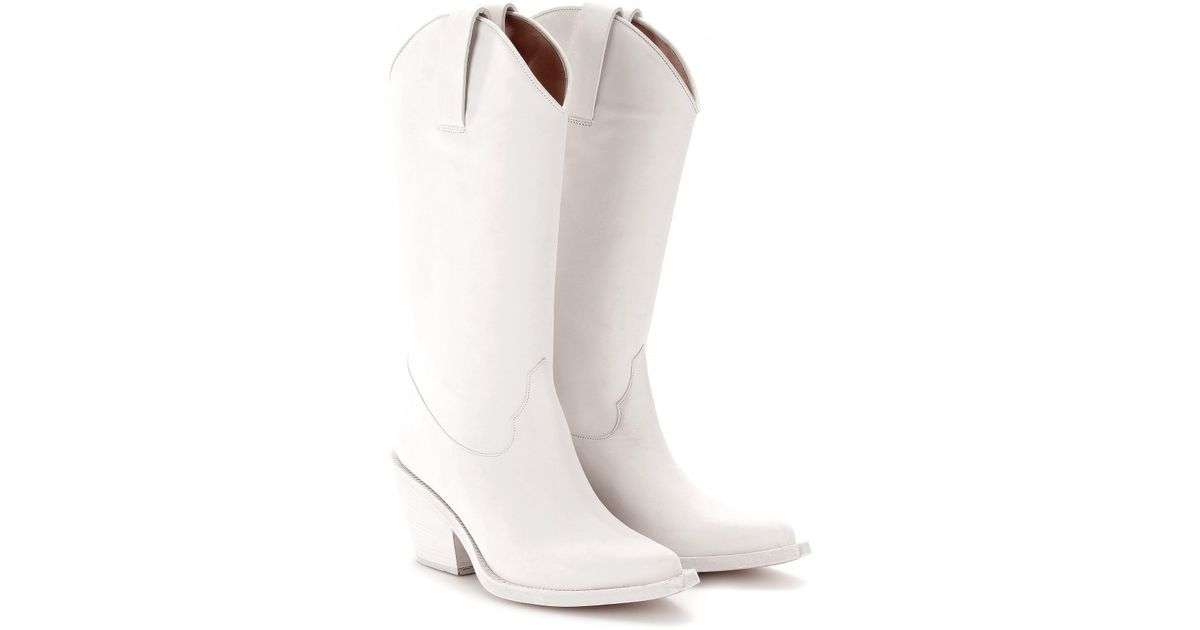 8d7253427aa Lyst - Acne Studios Brush Cowboy Boots in White