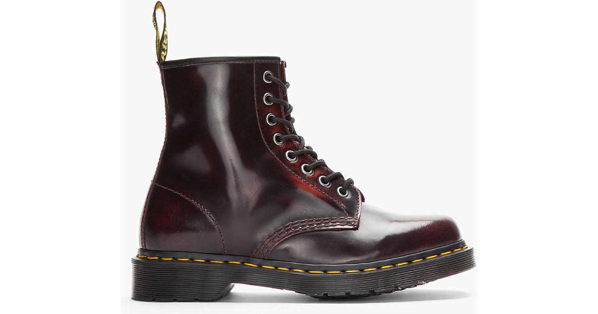 8032de523f Dr. Martens Burgundy Brushed Leather 8eye Boots in Red for Men - Lyst