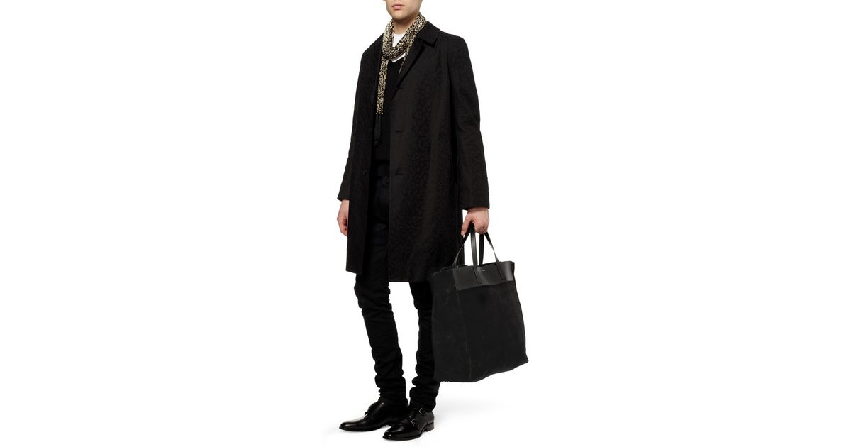 Lyst Saint Laurent Reversible Suede And Leather Tote Bag In Black For Men