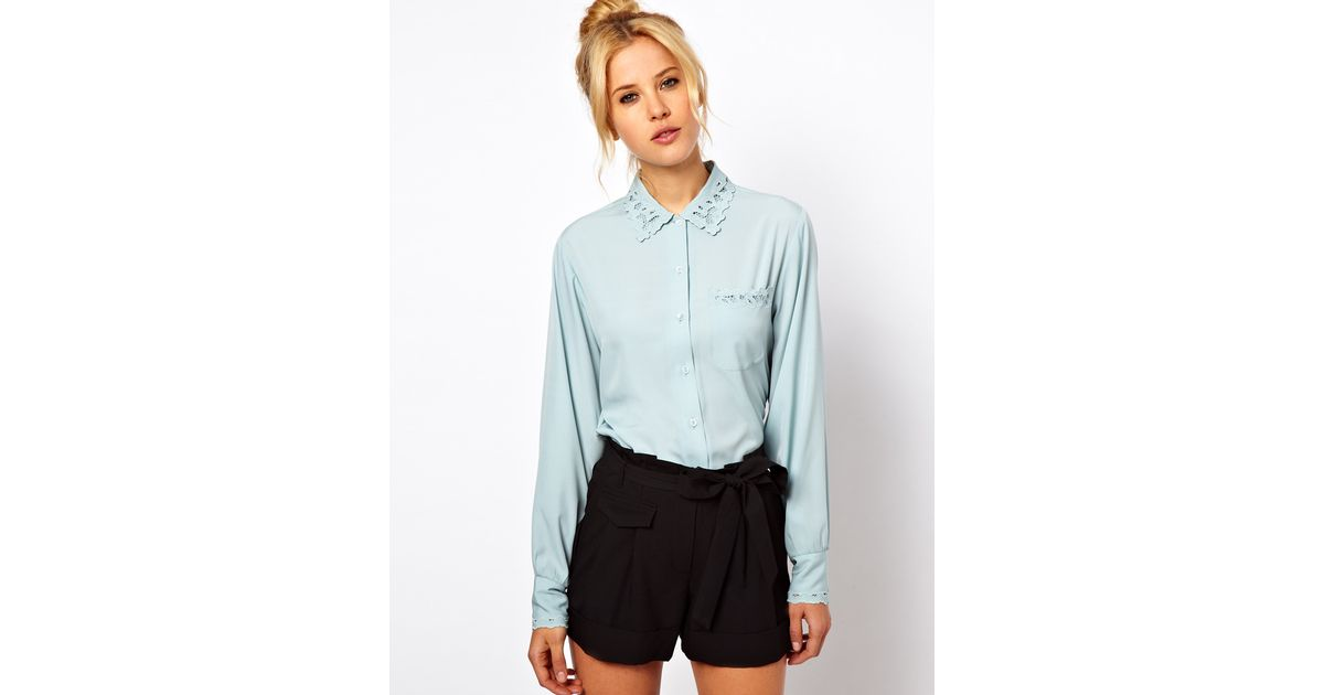 61fc7a0650dce3 Lyst - ASOS Collection Asos Blouse with Pretty Cutwork and Embroidery in  Blue