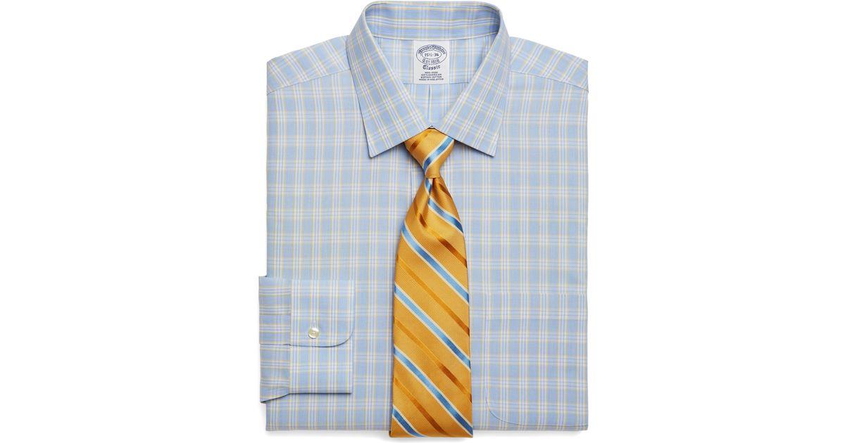 79a5311b0dea Brooks Brothers Supima Cotton Noniron Slim Fit Glen Plaid Dress Shirt in  Blue for Men - Lyst