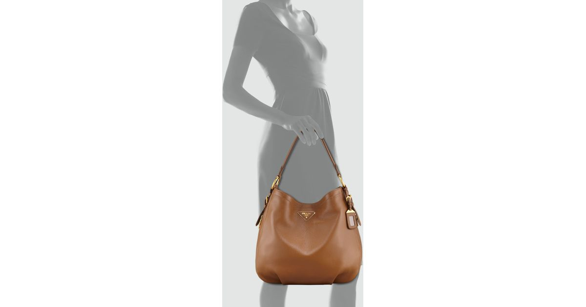 8488ddb348a2 ... uk lyst prada cervo hobo bag in gray 407d3 4bc10