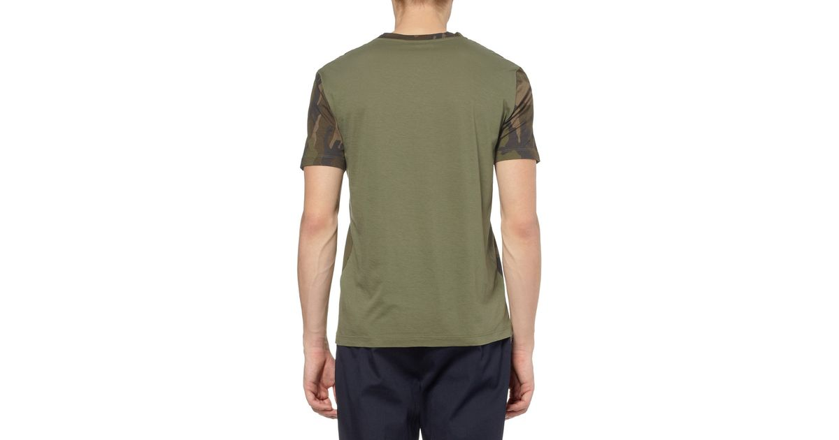 Valentino Camouflageprint Cottonjersey Tshirt In Green For