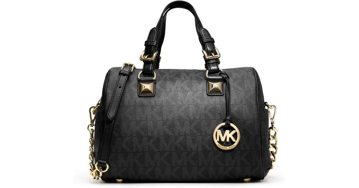 3fc59c4a04de ... shopping lyst michael michael kors medium grayson logo satchel in black  328a3 75029