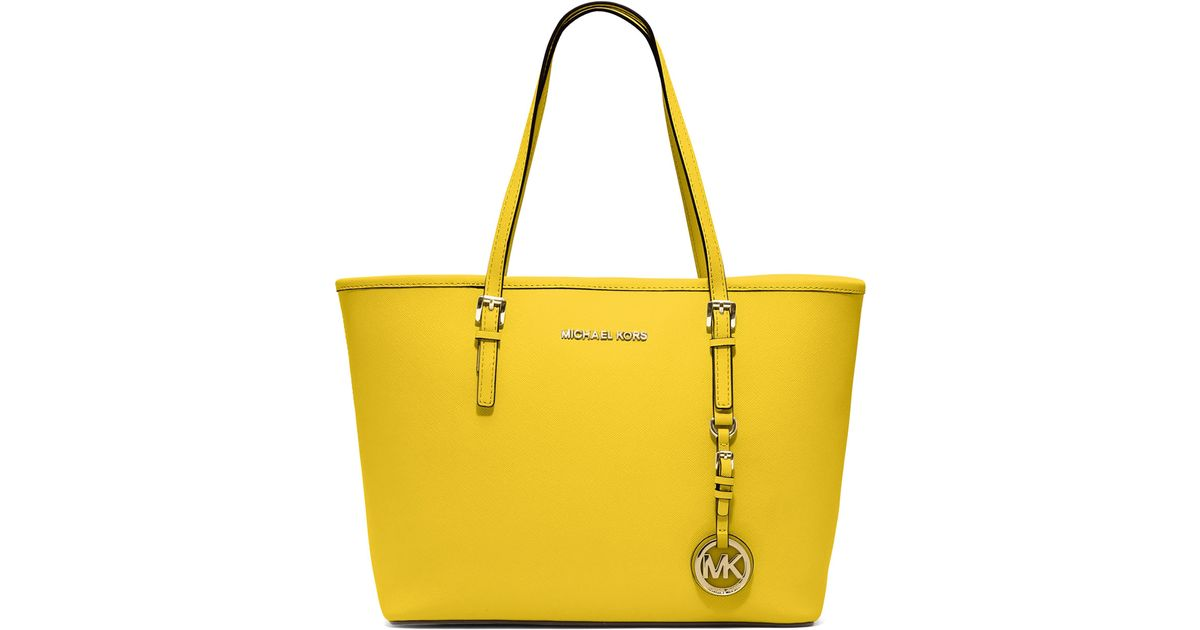 f70a39ff4df7 MICHAEL Michael Kors Yellow Small Jet Set Saffiano Travel Tote