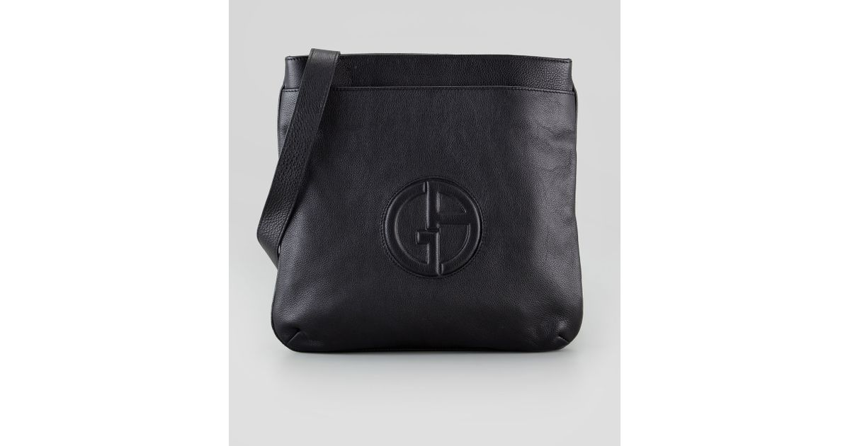be00953055d5 Lyst - Giorgio Armani Mens Logo Messenger Bag in Black for Men