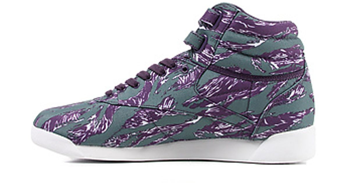 b4453bd56c00f7 Lyst - Reebok The Freestyle Hi Sneaker in Luxe Blue and Purple Shade in  Purple