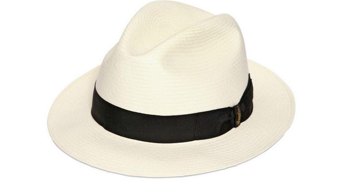 bfc42dccdd4e09 Borsalino Classic Panama Narrow Brimmed Straw Hat in White - Lyst