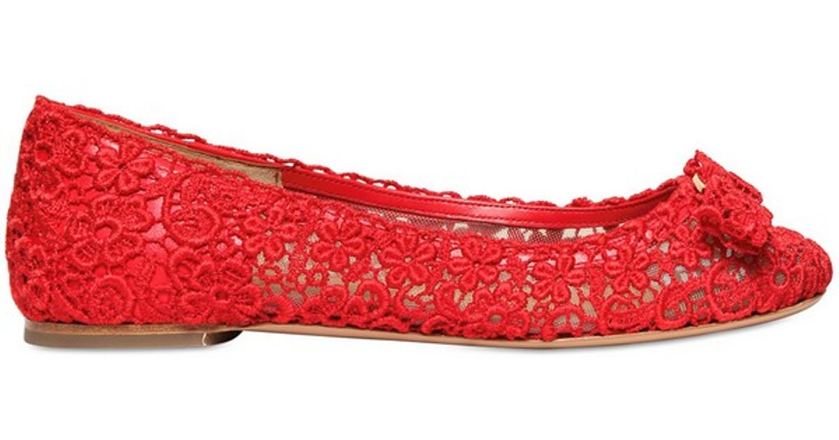 Ferragamo Varina Bow Lace Flats in Red