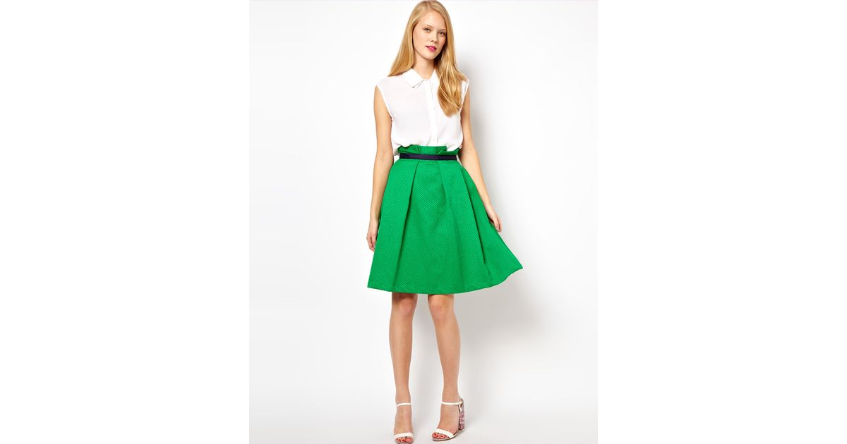 Asos collection Midi Skirt in Texture in Green | Lyst