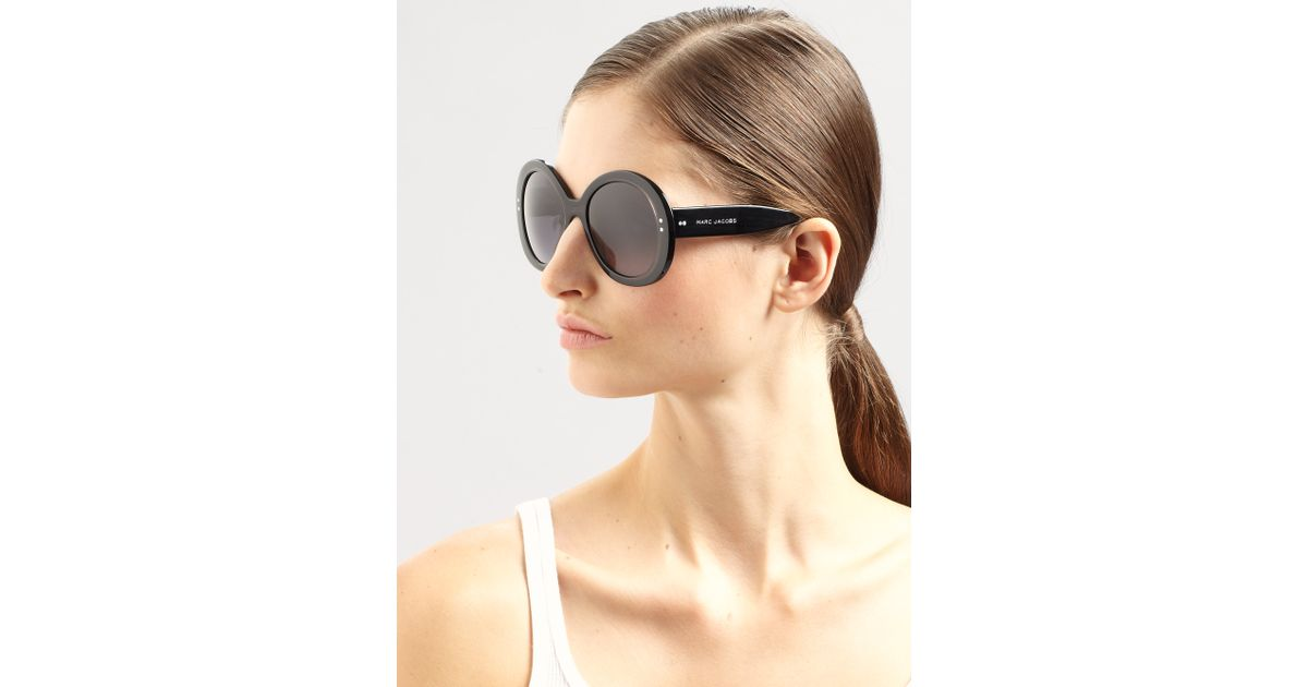 fbf112f825 Lyst - Marc By Marc Jacobs Oversized Round Acetate Sunglasses in Black