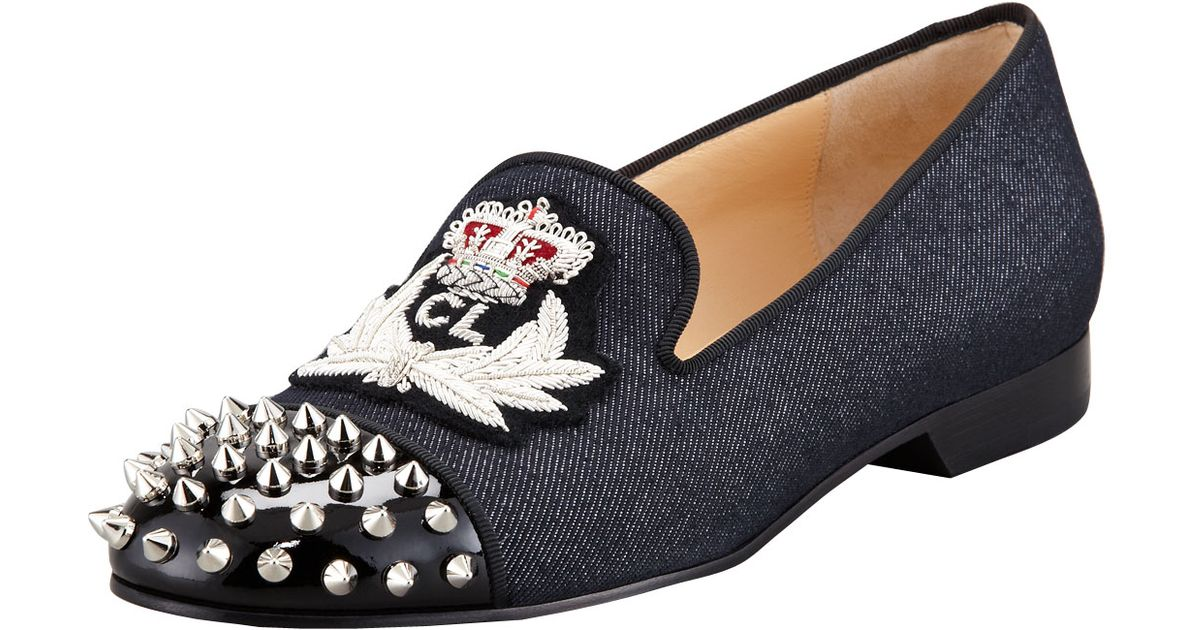 cheap christian louboutin loafers - christian louboutin intern spiked velvet loafers, christian ...