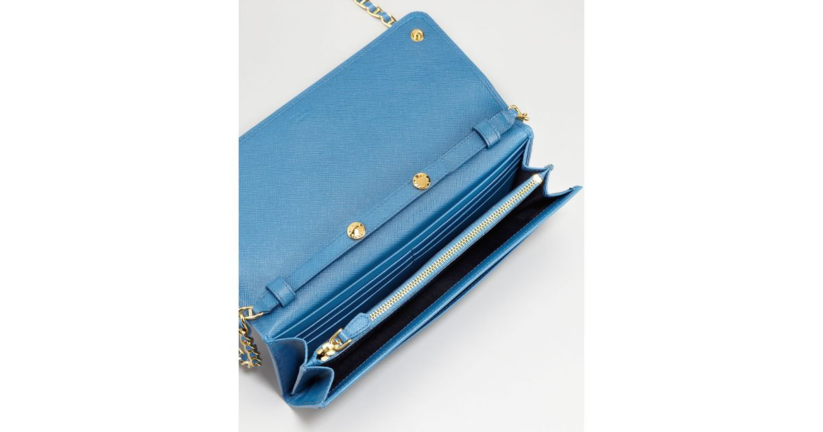 c96c7403bac0 Prada Saffiano Wallet On A Chain Cobalt in Blue - Lyst