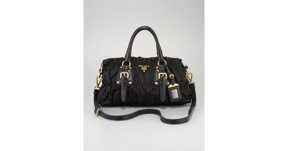6e0e4188b18416 ... closeout lyst prada tessuto gaufre satchel bag in black a66b9 f2a0e
