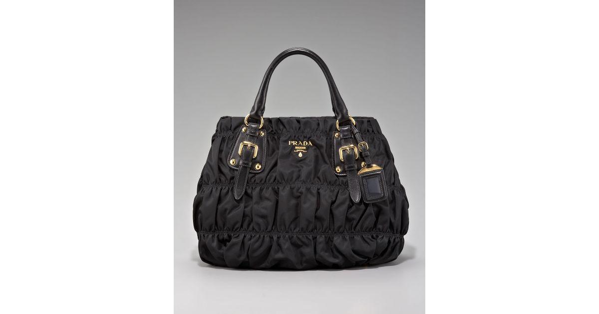 343d8ea16a5d get lyst prada tessuto impunturato satchel bag in black 325a7 a57d6