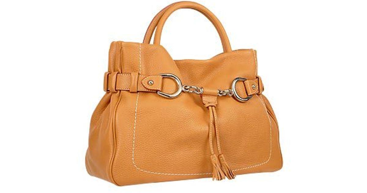 Lyst Buti Camel Horsebit Detail Italian Pebble Leather Satchel Bag In Brown