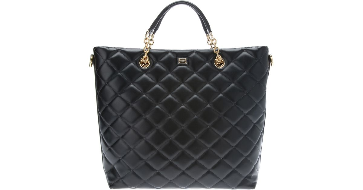 Lyst Dolce Gabbana Quilted Tote Bag In Black