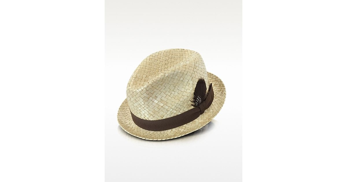 fb538244 Paul Smith Straw Feather Trilby Hat in Natural for Men - Lyst