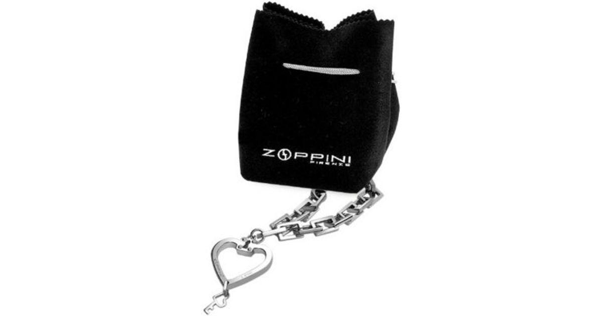 fe412a369626c Zoppini Gray Stainless Steel Heart & Key Charm Bracelet