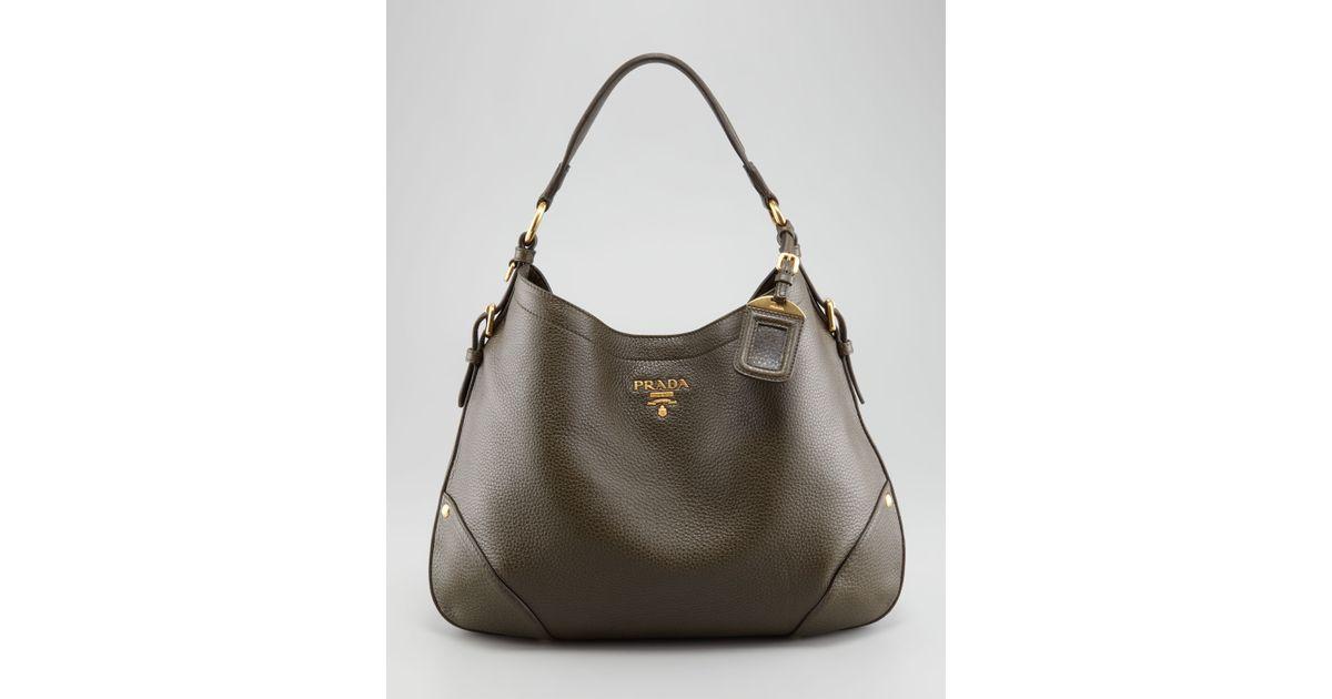 89274a97b56c Prada Vitello Daino Snap Hobo Bag in Brown - Lyst