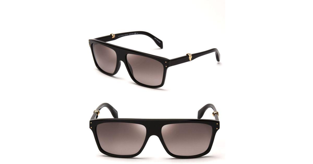 d50911600e Lyst - Alexander McQueen Flat Top Wayfarer Sunglasses in Black
