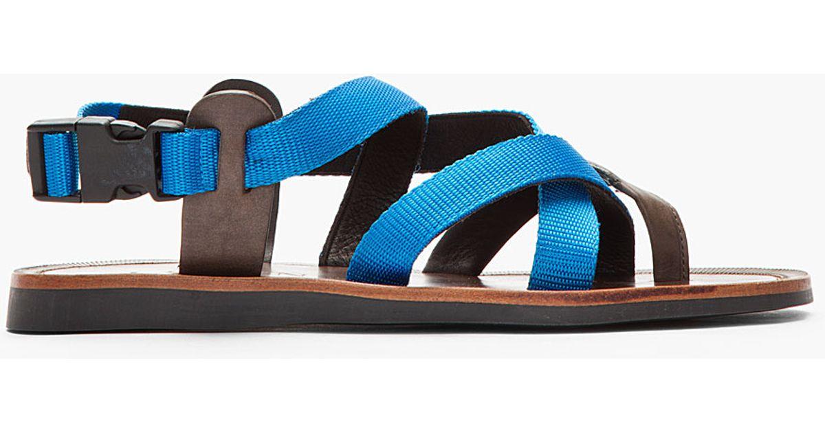 3c4955156227 Lyst - Lanvin Blue Brown Flat Leather Multistrap Sandals in Blue for Men