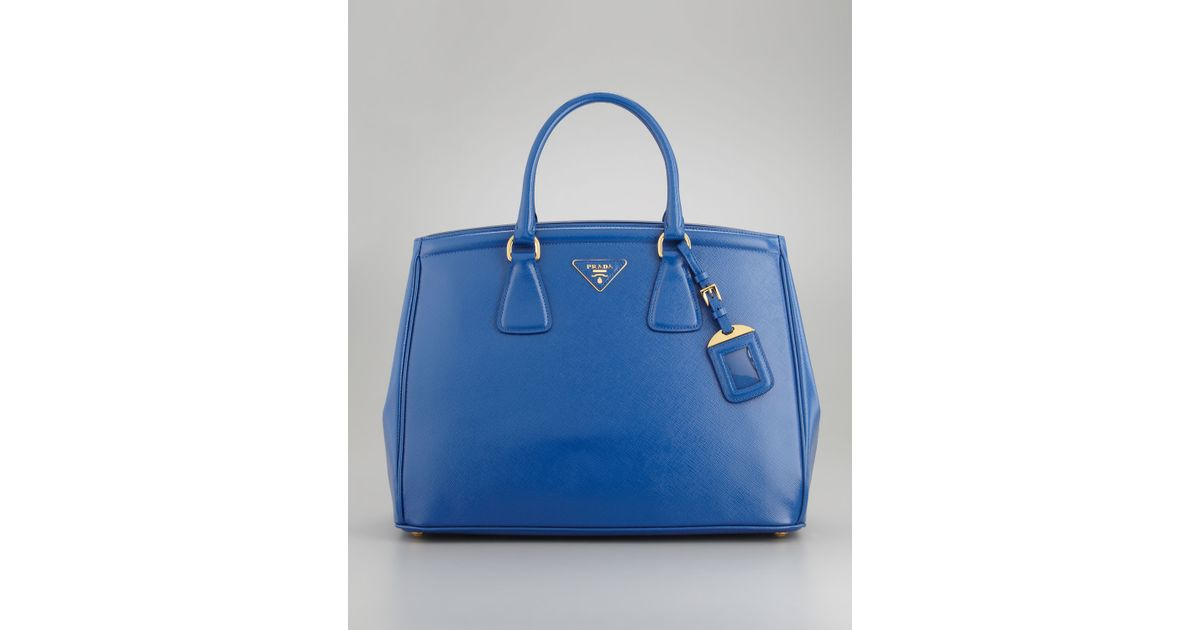 Prada Vernice Parabole Saffiano Tote Bag in Blue (bright royal ...