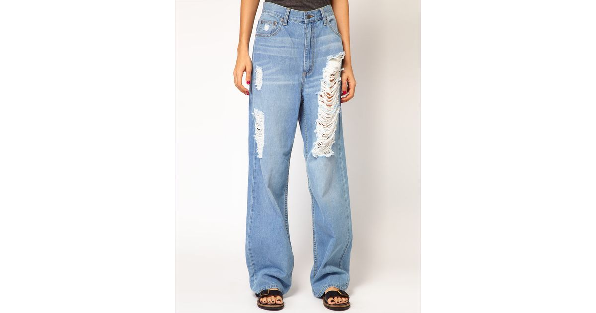 Cheap monday Omega Distressed Boyfriend Jeans in Blue | Lyst