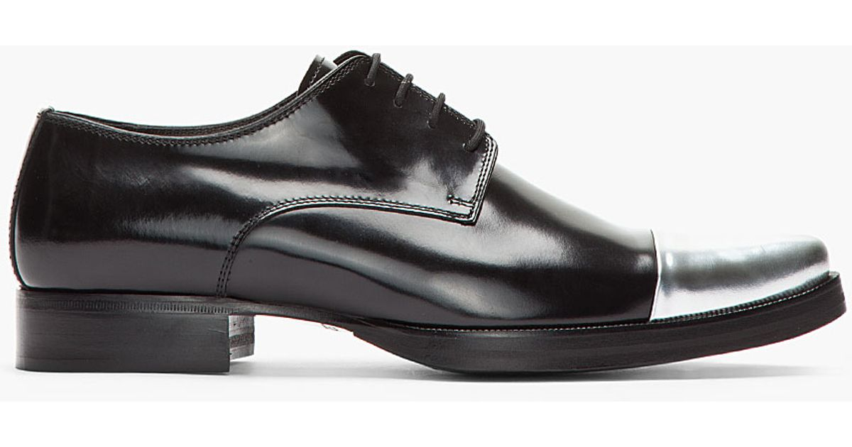Lyst Dsquared Black Silver Cap Toe Derby Leather Dress Shoes In