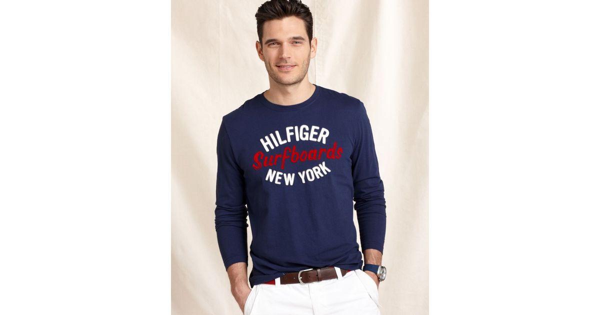 c4fb6c5dabd Lyst - Tommy Hilfiger Long Sleeve Surf T-Shirt in Blue for Men