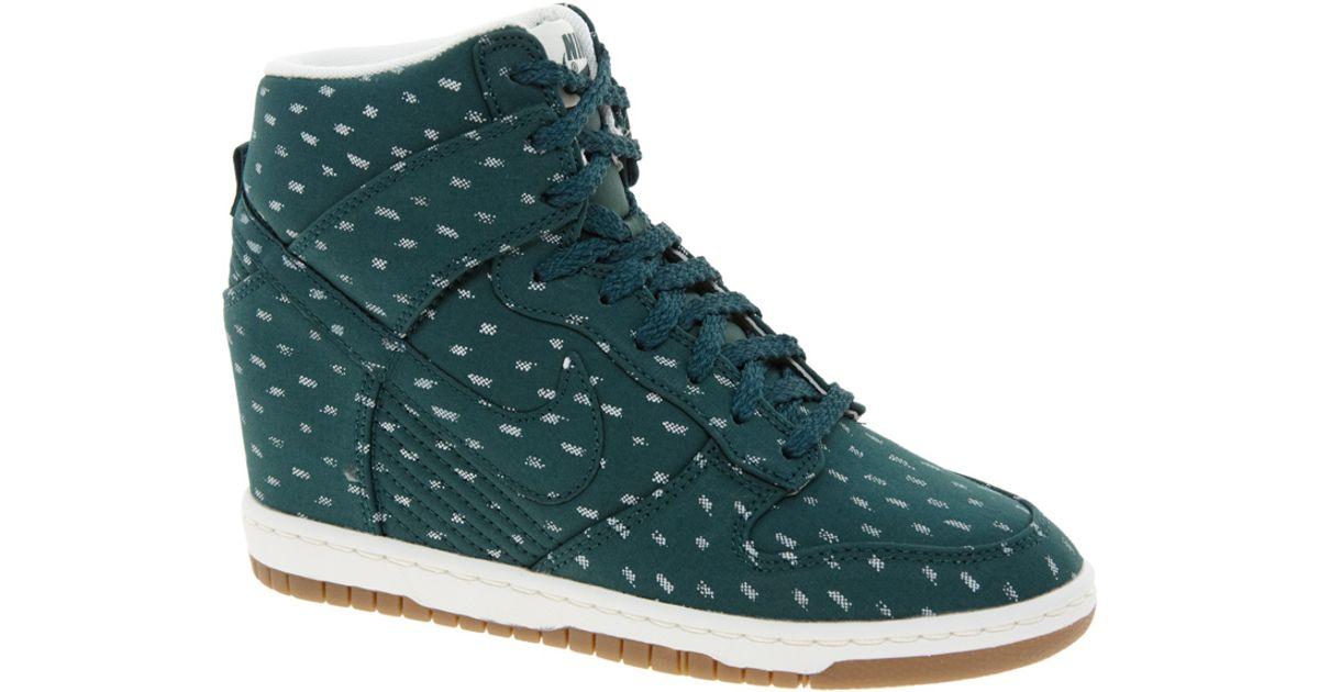 0e1a3d064b77 Lyst - Nike Dunk Sky High Top Green Wedge Sneakers in Blue