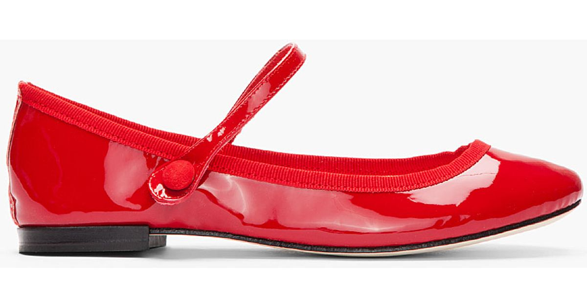 Lyst - Repetto Red Lio Patent Mary Jane Flats in Red