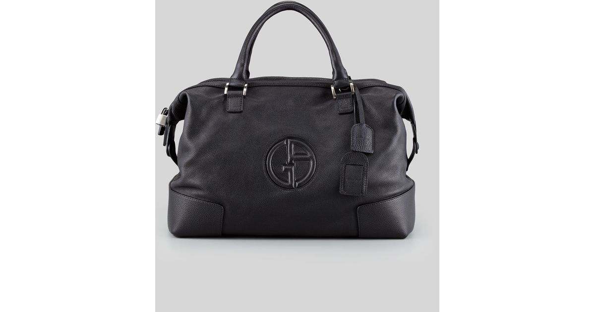 5e91b8ab0e3e Lyst - Giorgio Armani Mens Leather Logo Weekender in Black for Men