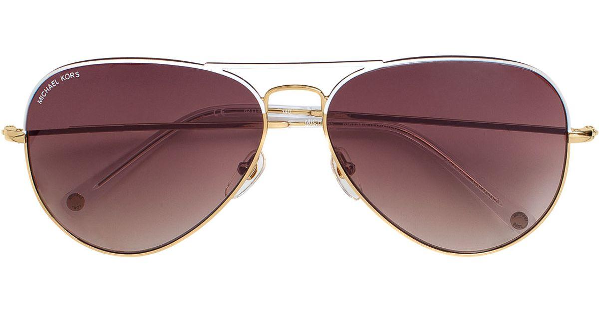 77acf31967cd Lyst - MICHAEL Michael Kors Kennedy Plastic Aviator Sunglasses in White