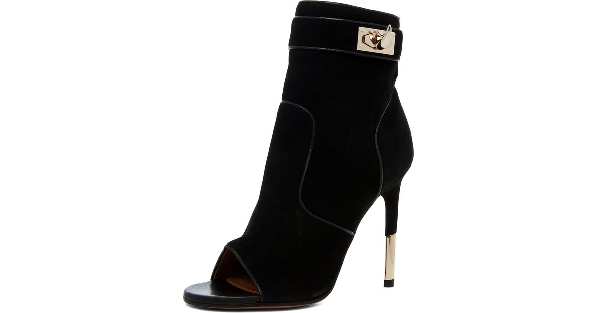 355f617f13e Givenchy Dunke Suede Nappa Shark Lock Bootie in Black