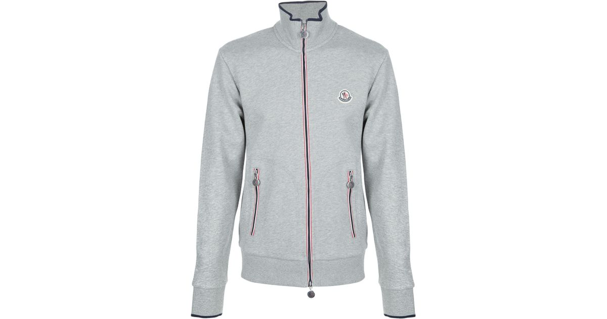 Moncler Zipthru Track Top in Gray for Men - Lyst 2b0fa0c14
