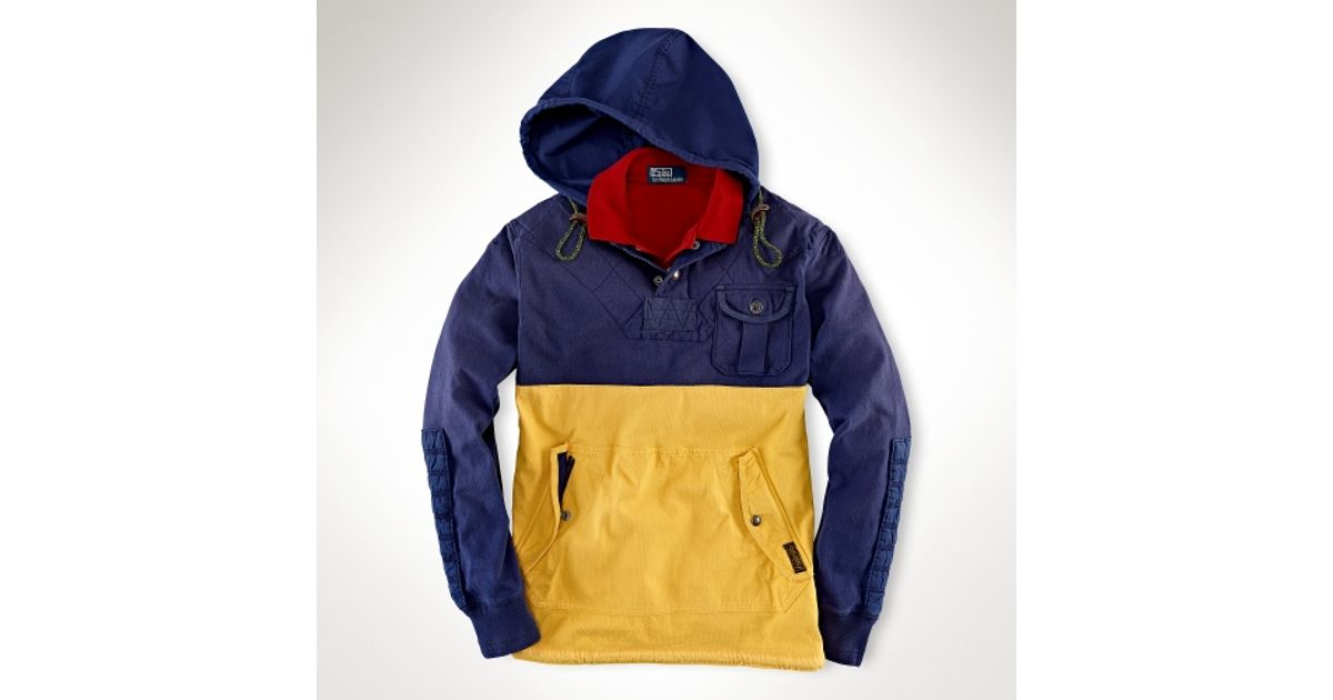 Lyst - Polo Ralph Lauren Customfit Rugby Hoodie in Blue for Men 4ededce9d