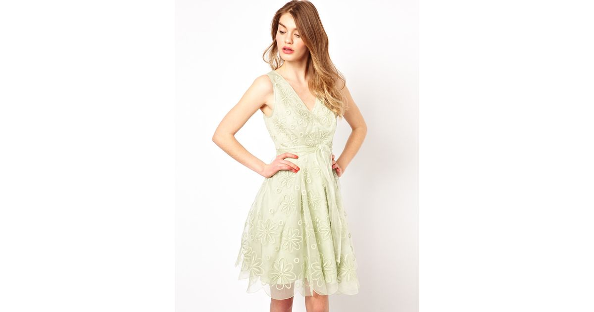 Lyst - Ted Baker Prom Dress in Broderie with Bow Belt in Green