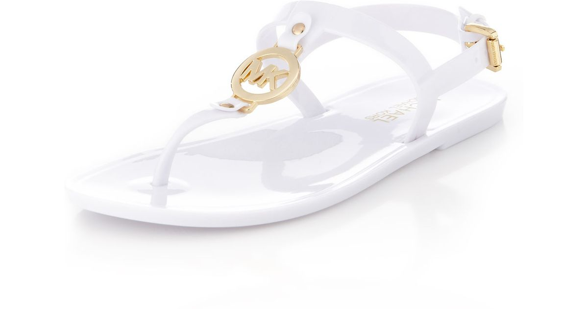 fashion exquisite design sells MICHAEL Michael Kors White Sondra Jelly Thong Sandal