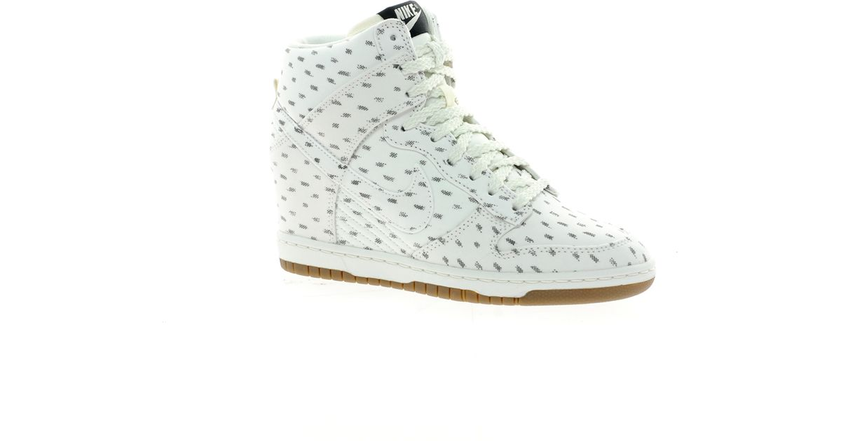 san francisco 3ff92 03f89 ... new zealand nike dunk sky high top white wedge sneakers in green lyst  3a22a 9b626