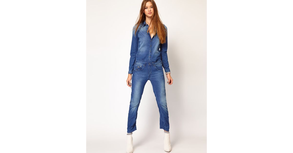 g star raw gstar denim jumpsuit in blue midwash lyst. Black Bedroom Furniture Sets. Home Design Ideas