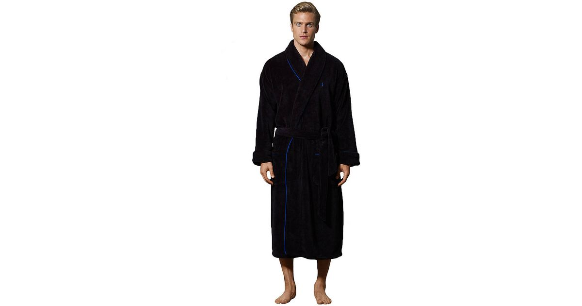 Lyst - Polo Ralph Lauren Fleece Shawl Collar Robe in Black for Men 946ee9ecf