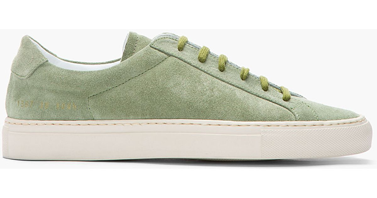 Common Projects Green Suede Achilles