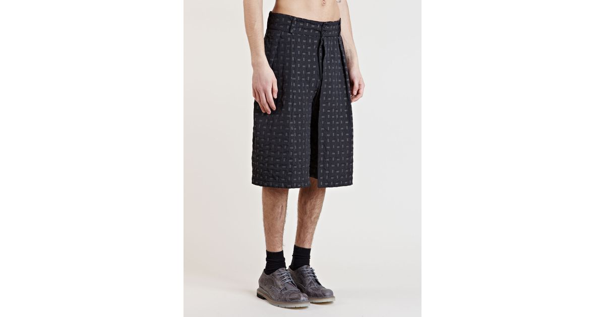 James long Mens Patterned Pleat Shorts in Gray for Men | Lyst