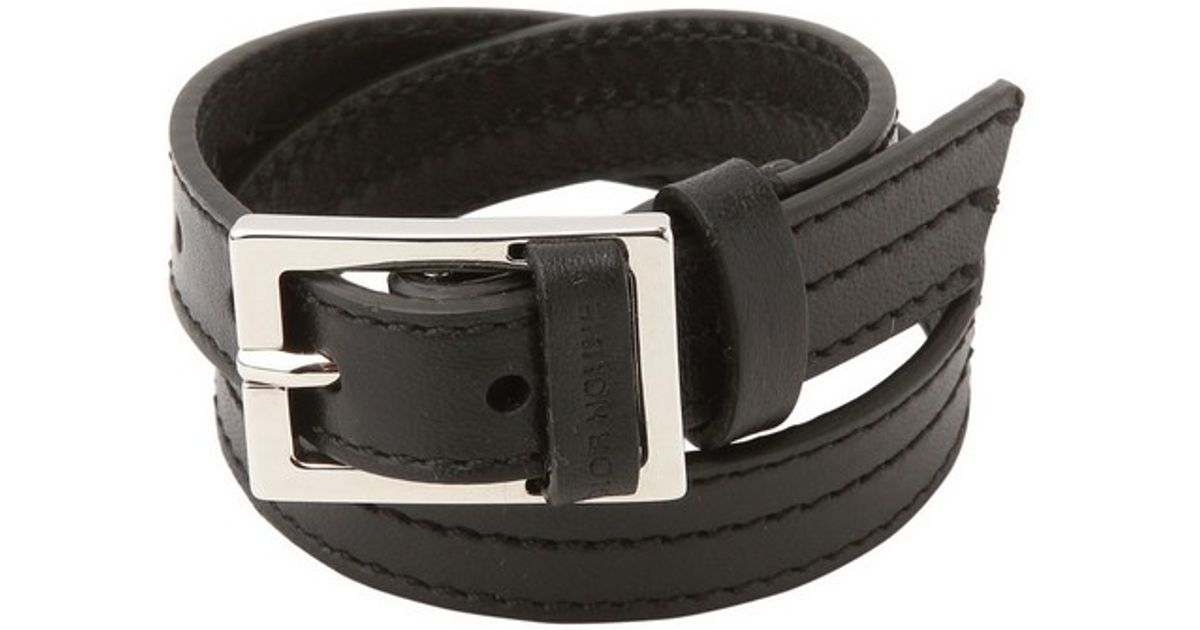 9d99939375f0a7 Lyst - Dior Homme Double Wrap Leather Bracelet in Black for Men