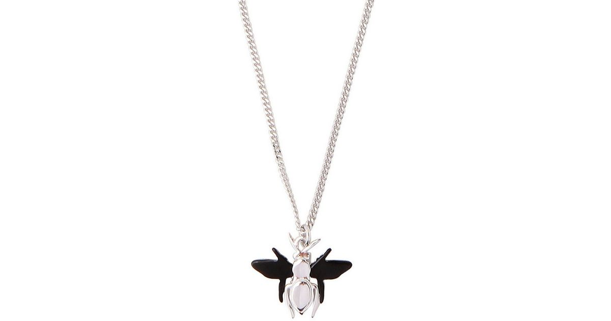 Lyst dior homme silver bee pendant necklace in metallic for men aloadofball Choice Image