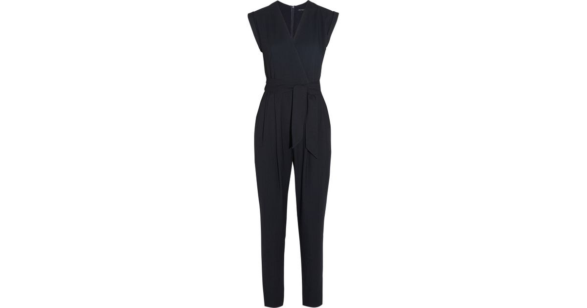 3dca8dda6e1a Lyst - Theory Provence Crepe Jumpsuit in Blue